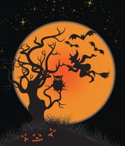 halloween witch owl full moon