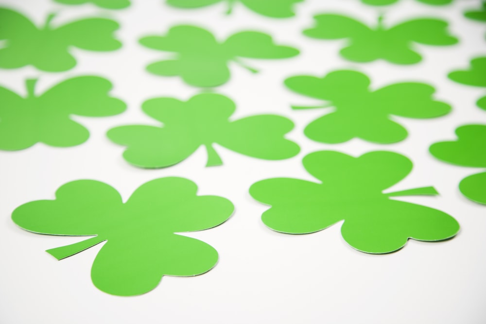 Luck of the Irish. Intuition. Sense of Humor. St. Patrick's Day. Group of green paper shamrocks on white.