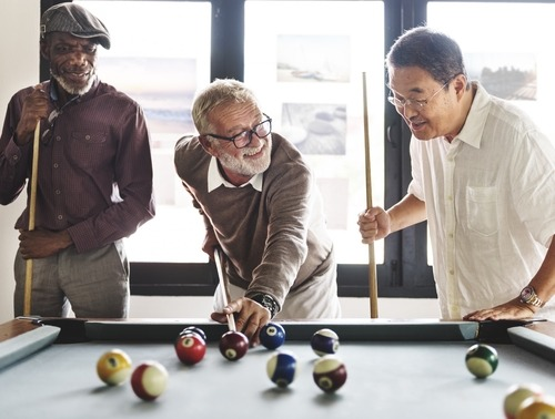 Friends Playing Billiard Relaxation Happiness Concept