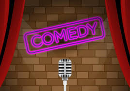 comedy club sign brick wall background with microphone