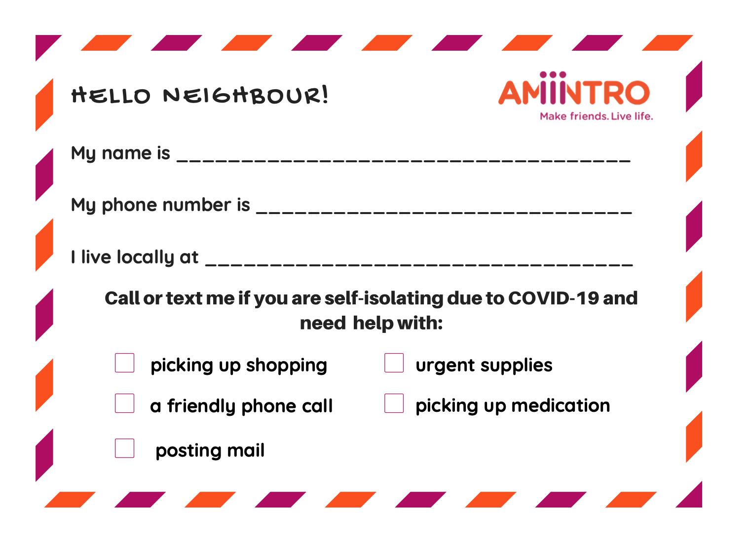 good neighbor note card
